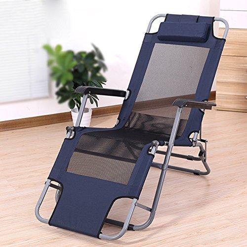iegen Recliners Sommer Balkon Klappstuhl Büro Mittagspause Strand Faulen Stuhl Tragbare Sessel Wohnung Legen Klappbett 200 kg (Farbe : Navy blau) ()
