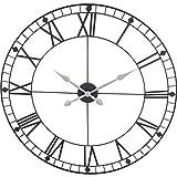 88 cm Design Wanduhr XXL 88 cm Metall Schwarz Quarz Uhr Jumbo Großuhr