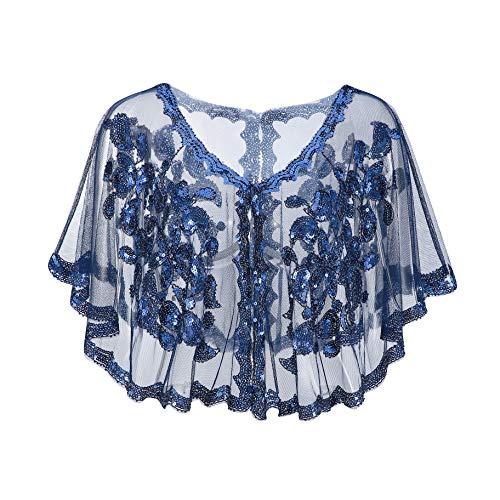 Metme 1920er Jahre Schal Damen Umschlagtücher Stola für Abendkleid Pailletten Perlen Art Deco Wraps Cape Gatsby Kostüm Accessoires Marine