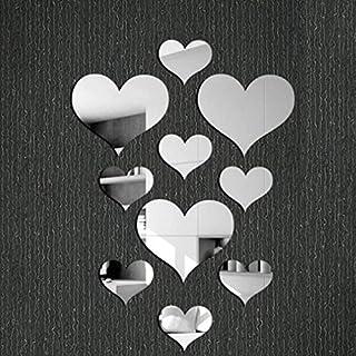 Gaddrt 10Pcs/Set Love Heart Mirror Wall Sticker Acrylic 3D Mural Decal Removable Stickers (Silver)