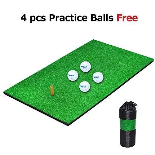 Golf Mat, LATTCURE 30X60cm Golf Praxis Schlagen Matte mit Gummibaum Halter und 4 Praxis Golf Ball Test