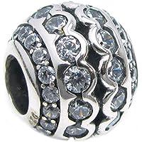 Argento Sterling 925con Cubic Zirconia trasparenti Enthic rotondo fiori con cristalli per braccialetti Pandora, Chamilia, (Orecchini Gioielli Chamilia)