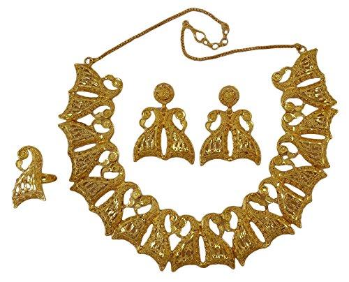 Matra les femmes indiennes de mariage ethnique goldplated mariée 3 pcs ensemble collier bijoux