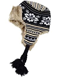 Ladies Knitted Patterned Trapper Hat With Warm Faux Fur Lining - Black & Brown