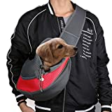 Freebily Hundetragetasche Single-Schulter Haustier Tragetasche Umhängetasche Rucksack für Hund Welpen Katze Chihuahua Transporttasche mit Komfotablem Haltegurt (Rot, L)