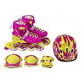 NILS Inlineskates Mädchen Set Gear pink gelb größenverstellbar 31-38 mit Schutzset (S (31-34))