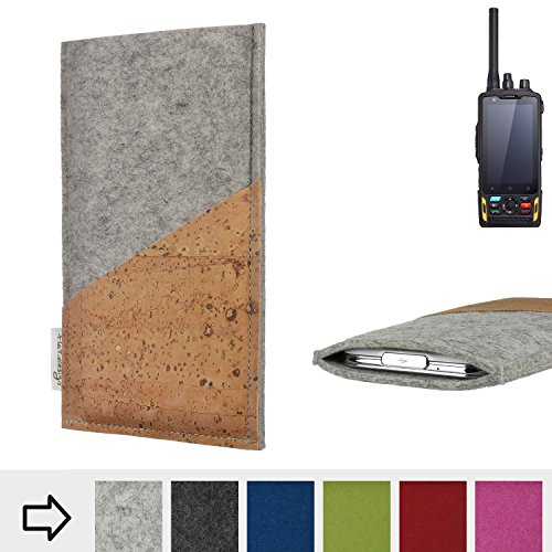 flat.design Handytasche Evora mit Korktasche für Ruggear RG760 - Schutz Case Etui Filz Made in Germany in hellgrau mit Korkstoff - passgenaue Handy Hülle für Ruggear RG760