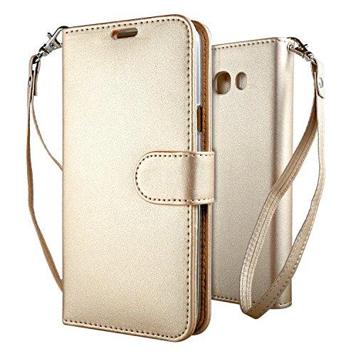 Samsung Galaxy J7 2016 Funda Oro , Leathlux Puro Color Carcasa PU...