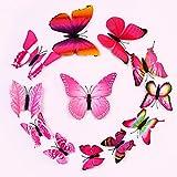 ufengke® 12-Pcs 3D Schmetterlinge Wandsticker Mode-Design Diy Bunten Schmetterling-Kunst-Abziehbilder Handwerk Hauptdekoration Rosa
