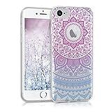 kwmobile Funda para Apple iPhone 7/8 - forro de TPU silicona cover protector para móvil - Case Diseño Sol hindú azul rosa fucsia transparente