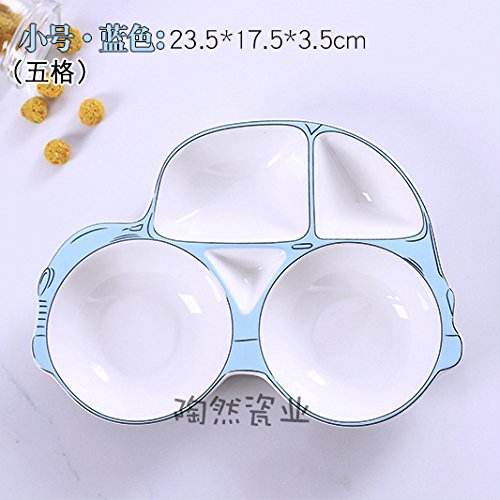 hoom-vajilla-infantil-no-toxico-colorida-ceramica-saludable-plato-separador-de-cochepequena-azul