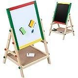 Infantastic – Pizarra para niños 2 en 1 (pizarra magnética, pizarra para pintar de madera con accesorios) - aprox. 64/41/33,5 cm – de color verde