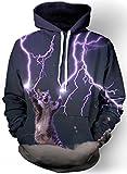 Imbry Herren Slim Fit Hoodie Long Sleeve Kapuzenpullover 3D Druck Muster Sweatshirt Pullover (S/M, Blitz-Katze)
