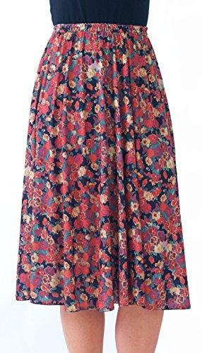 Ladies Elasticated Waist Skirt - 6 Great patterns - Sizes 8-36 (12, Summer Burst)