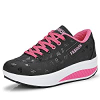 QZBAOSHU Women Slimming Walking Shoes & Sneakers Fitness Wedges Platform Shoes, 1-black, 6.5 UK, EU 40