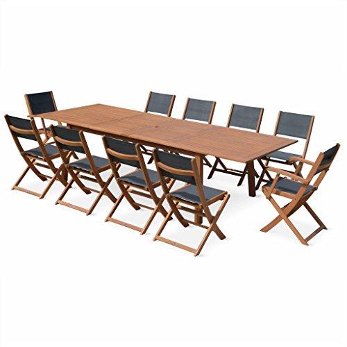Alice's Garden - Salon de Jardin en Bois Extensible - Almeria Table 200/250/300cm avec 2 rallonge, 2 fauteuils et 8 chaises, en Bois d'Eucalyptus FSC huilé et textilène Gris Anthracite