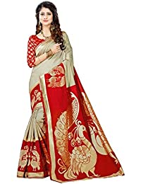 Devpriya Fashion Women's Red Strawberry Silk Saree With Blouse