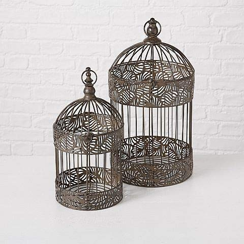 Home collection arredamento accessori set di 2 gabbie decorative per uccelli