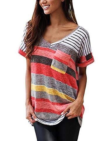 T-shirt Col V Femme - T shirt femme Manche Courtes Col v