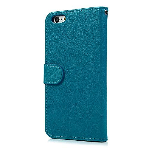 MAXFE.CO Schutzhülle Tasche Case für iPhone 6 6S PU Leder Flip Tasche Cover Prägung Einhorn Muster im Ständer Book Case / Kartenfach Gold Blau