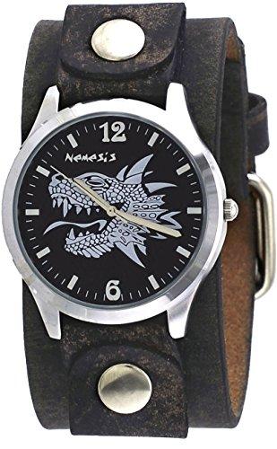 Nemesis FNB933K Men's White Dragon Wide Artsy Grey Leather Band Analog Watch
