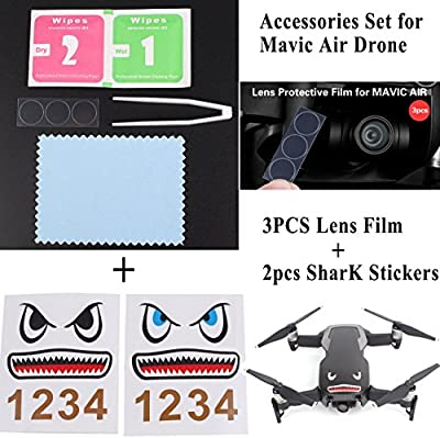 Crazepony-UK Mavic Pro Sticker Decal Skin Guard, Mavic Air/DJI Spark Skin Sticker Decal, Battery Number Sticker Shark face Decal Drone Sticker 3M Waterproof DJI Drone Accessories from Crazepony-UK