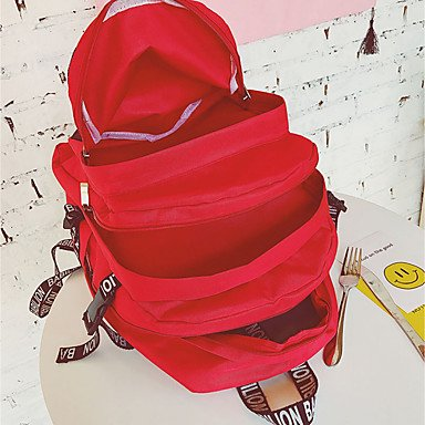 Frauen Rucksack Oxford Tuch alle Jahreszeiten Casual Runde Reißverschluss Grau Rot Rosa Rot Schwarz Blushing Pink