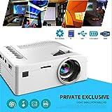 Prtorcz Mini-HD-Videoprojektor, 1080 P HD-LCD-Fernseher mit kleinem Format Multimedia-Player Theater Heimkino-Video-Projektor (weiß)