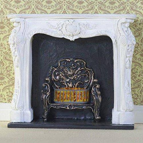 Dolls House Miniatur Maßstab 1: 12. Weiß rococo-style Kamin Surround & Fire -