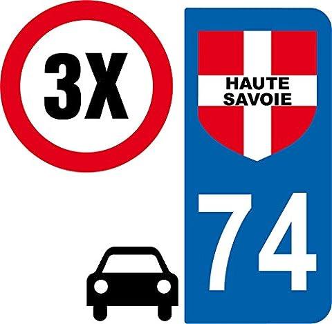 3 autocollants Style plaque immatriculation auto Département 74 HTE SAVOIE