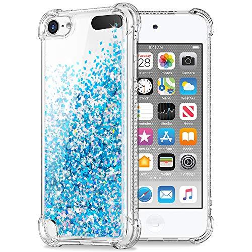 Hweggo custodia cover per ipod touch 6/touch 5, glitter brillantini trasparente silicone gel liquido sabbie mobili bumper tpu case per ipod touch 5/touch 6 - blu