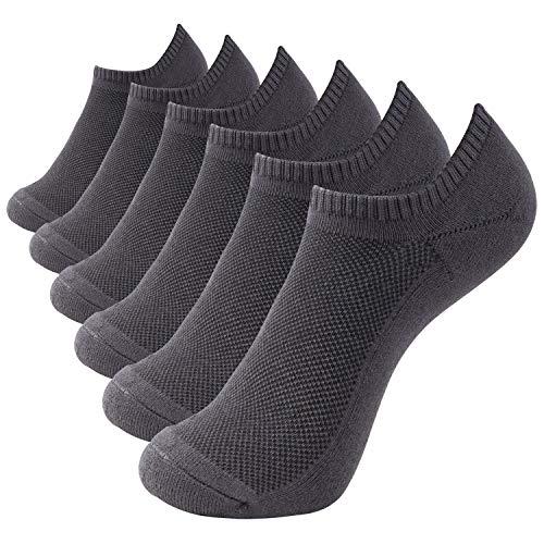 +MD 6 Paar Bambus Sneaker Socken Damen und Herren Sportsocken Ideal für Sport, Freizeit und Business GRY M(39-42EU/9-11US) Bambus 9