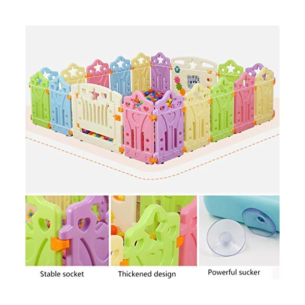 LIUFS-Playpens Game Fence Indoor Fence Crawling Mat Home Children Fence Safety Fence Toddler Toys (color : Multi-colored, Size : 12+2 fence) LIUFS-Playpens - The fence is specially designed with a rubber base underneath, which can be firmly fixed to the floor and will not be pushed or towed by children. - Non-toxic, non-circulating high density polyethylene material without any odor. Over the years, molding technology has made the structure more durable and durable. Any form of manual deburring can prevent your baby from getting hurt. - The height of the fence is long enough to stand and walk, and each set has different game toys for children to play. 3