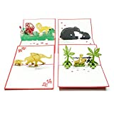 Pop Up Cards - Set of 4 3D Pop-Up Birthday, Greeting or Special Occasion Card Sets - Jungle Animals (4 Pack- Assorted)