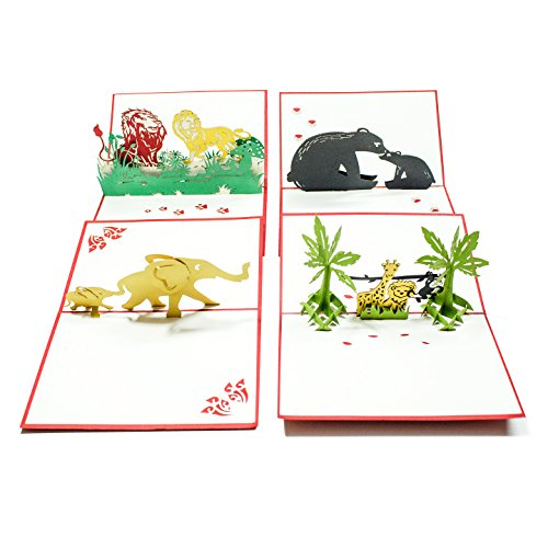 (Pop Up Cards - Set of 4 3D Pop-UP Birthday, Greeting or Special Occasion Cards Sets - Jungle Animals (4er Pack-Mischpackung))