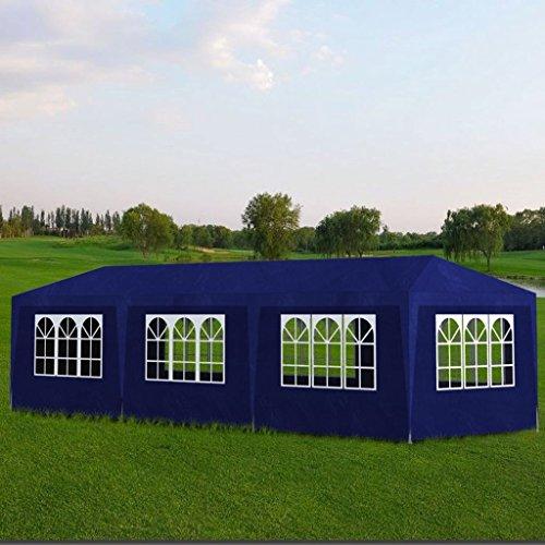 SENLUOWX Tonnelle de Jardin polyéthylène Tente de réception 8 Murs Bleu 9 x 3 x 2,5 m