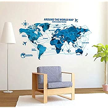 World map decal wall sticker amazon kitchen home risisung creative home decor background removable wall sticker world map gumiabroncs Image collections