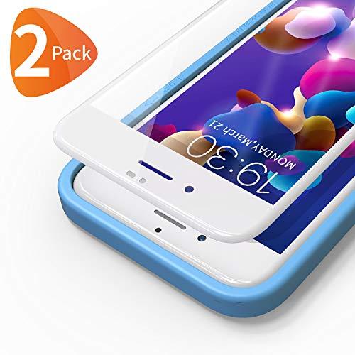 Bewahly für Panzerglas Schutzfolie für iPhone 8 Plus / 7 Plus [2 Stück], 3D Full Screen Panzerglasfolie 9H Displayschutzfolie mit Installation Werkzeug für iPhone 8 Plus / 7 Plus (5,5 Zoll) - weiß - Schablone Richtung 1
