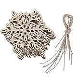 luoem 100Holz Schneeflocken Craft Sechseck Schneeflocke Anhänger Weihnachten Dekoration zum Aufhängen Verzierungen