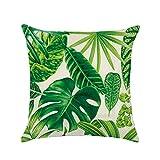 WINOMO Copricuscino in cotone Fodera per cuscino per divano con stampa di foglie verdi Decorazione divano