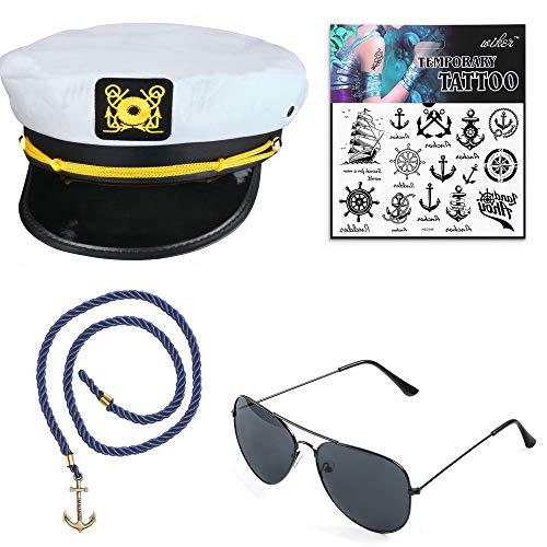Beelittle Yacht Kapitän Hut Kostüm Zubehör Set einstellbar Boot Sailor Schiff Skipper Cap Aviator Sonnenbrille Tabakpfeife mit Anker Design-Zubehör (E)