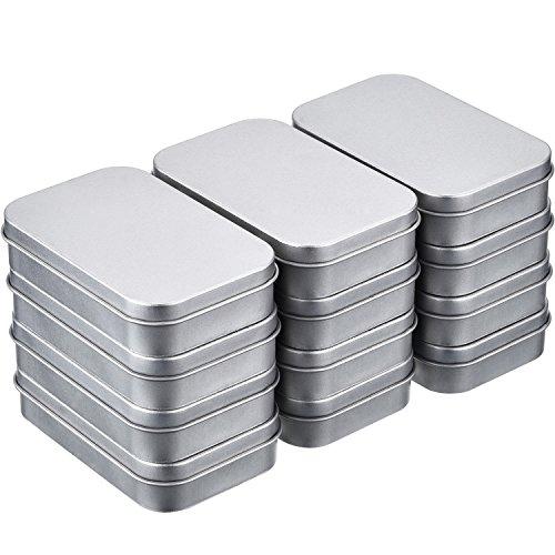 12 Piezas 3,75 por 2,45 por 0,8 Pulgadas Latas de Bisagra Rectangular Contenedor Caja de Metal Plateado Mini Estuche Portátil Kit de Almacenaje Pequeño, Organizador de Hogar