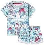 adidas Mädchen Flower Short + T-Shirt Set Kleinkinder Kinder Anzüge & Bodies, bunt/weiß/pink, 68
