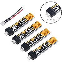 Crazepony-UK 4pcs 230mAh HV 1S Lipo Battery 30C 3.8V for Tiny Whoop Blade Inductrix JST-PH 2.0 Connector