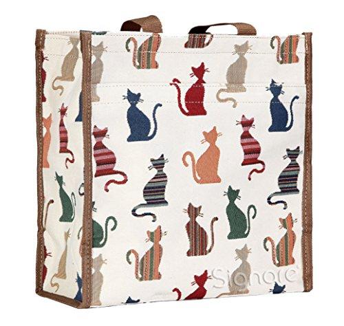 Bolso tapiz Shopper de moda Signare para mujer bolso de hombro Animal (Gato descarado)