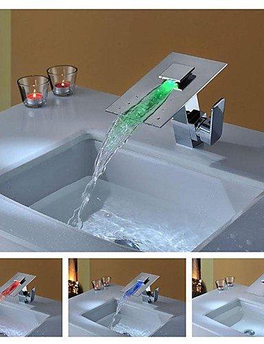 KISSRAIN® Charmingwater LED / Cascata contemporanea in ottone cromato centerset