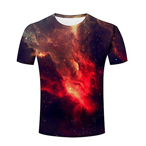 lingshirt Men 3D Tshirts Unisex Abstract Galaxy Lights Printed Creative Graphics Tees L (Abstract Print Tee)