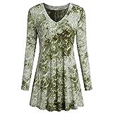 UFACE Damen Damenmode V-Ausschnitt Print Langarm-lose Tops T-Shirt Bluse(Grün,EU/42CN/M)