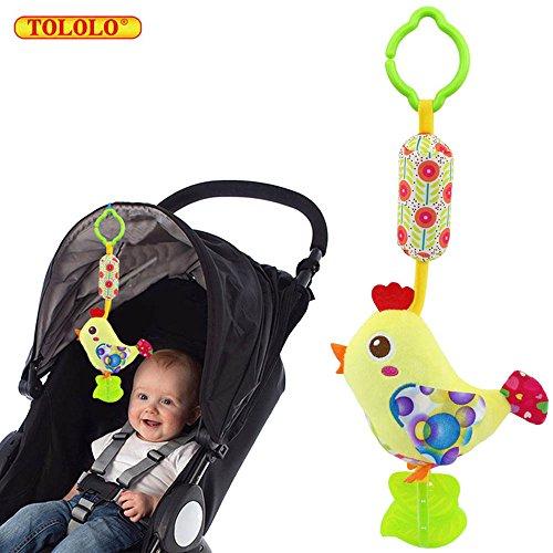 Baby Kleinkind Spielzeug Stoffspielzeug Rassel Beißring Schöne Bunte Farben für Kinderwagen ab 0 Monate,Küken