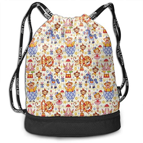 ackpacks Daypack Bags,Carnival Circus Theme with Cheerful Mascots Monkey Lion Bunny Acrobat Girl and Clown,Adjustable String Closure ()